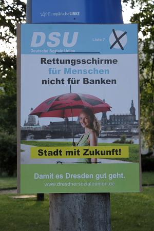 DSU-Plakat 1: linkskompatibel und unter dem Plakat der Linkspartei