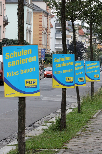 Wahlplakate in Striesen, 26.08.2009